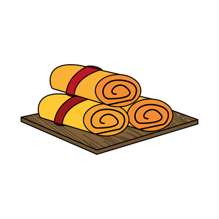 Rolled towels spa object icon image vector illustration design