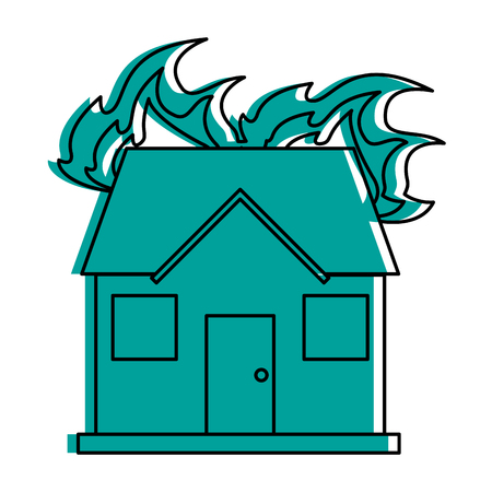 house on fire icon image vector illustration design  blue color