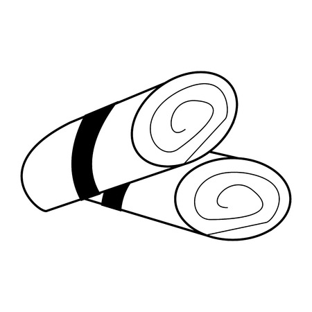 rolled towels spa object icon image vector illustration design  black and white