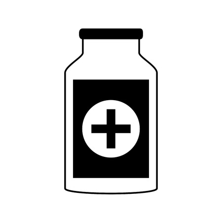 heart disease: medication pills flask healthcare icon image vector illustration design  black and white