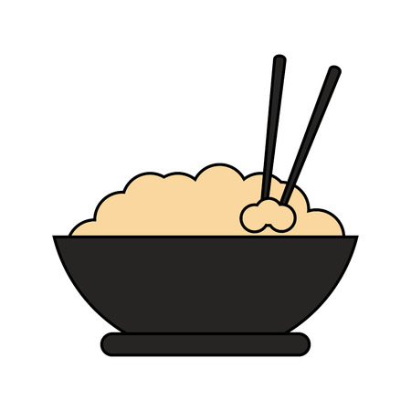 A bowl of rice with chopsticks food icon image vector illustration design