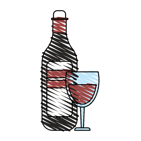 wine bottle and glass  icon image vector illustration design
