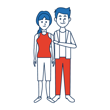 Beautiful couple woman and man standing together characters vector illustration