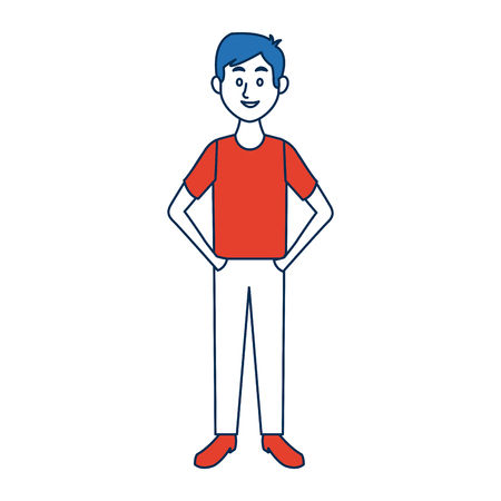 arms folded: Young man standing with folded arms front view vector illustration Illustration