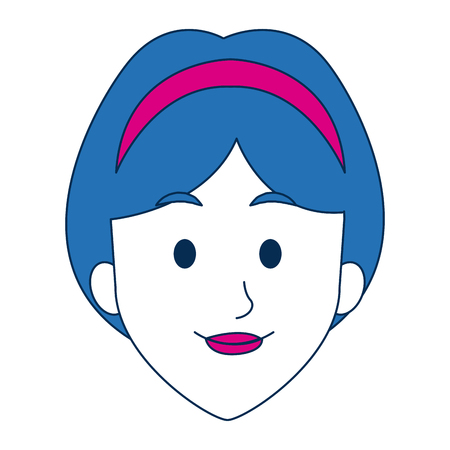 woman face with lipstick smile cartoon character on white background vector illustration