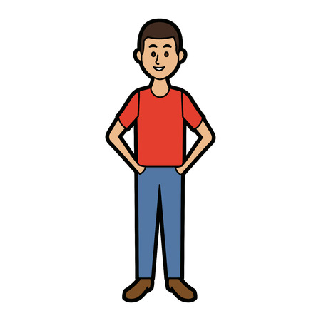 Smiling man in casual clothes standing vector illustration