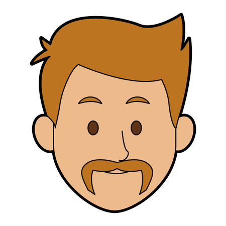 hair style: A man character face avatar male on white background vector illustration.