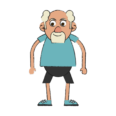 Buntes altes Mann Gekritzel über weißem Hintergrund Vektor-Illustration Standard-Bild - 84215244