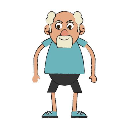 Colorful old man doodle over white background vector illustration