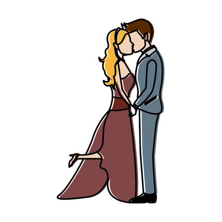 romantic couple wedding woman and man kissing vector illustration Illustration