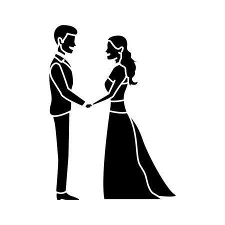 cute wedding couple holding hand lovely vector illustration