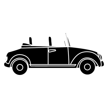 wedding couple: wedding car convertible old fashion style vector illustration