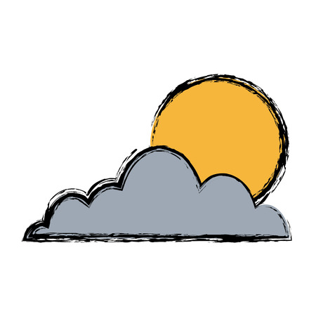 overcast: cloud sun sky weather seasonal climate icon Illustration