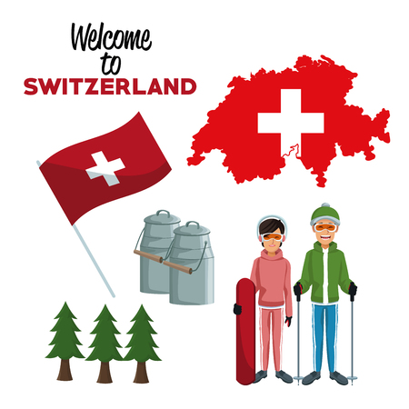 white background of welcome to switzerland with traditional elements and skiers people vector illustration Illustration