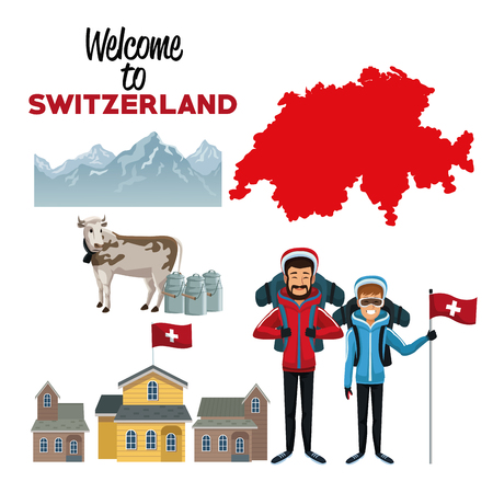 white background of welcome to switzerland with traditional elements of country and skiers people vector illustration Illustration