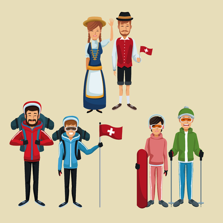 color background of set tourist and traditional people switzerland vector illustration