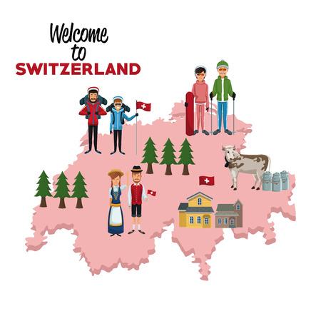 白い背景のシルエット マップのベクトル図の従来の人々 のスイス連邦共和国へようこそ