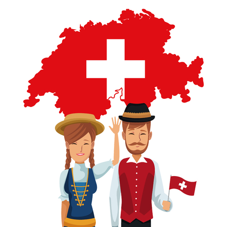 white background of welcome to switzerland with traditional people and silhouette flag map vector illustration