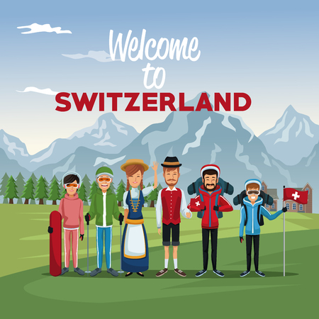 Mountain landscape valley poster with skiers tourist and traditional people with text welcome to Switzerland vector illustration Illustration