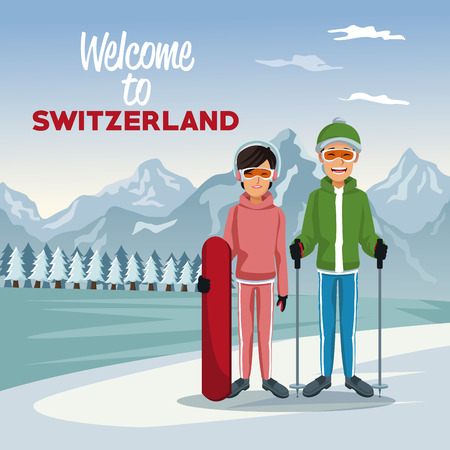 Winter mountain landscape poster with tourist couple skiers people and text welcome to Switzerland vector illustration