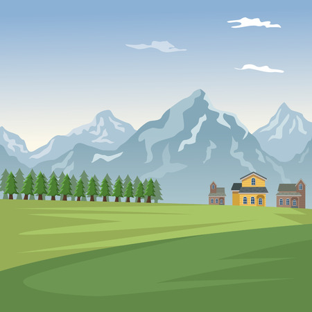 Mountain landscape valley poster with forest and facades houses vector illustration