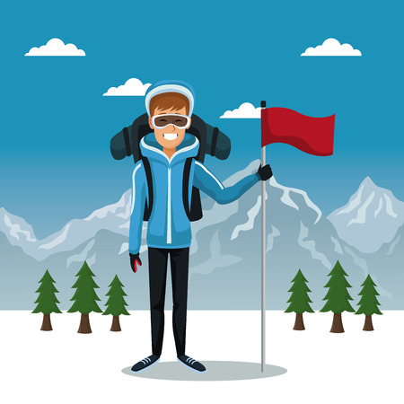 Winter mountain landscape poster with skier man with equipment and flag vector illustration