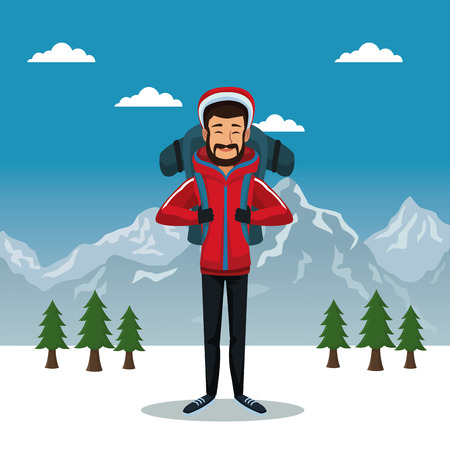 Winter mountain landscape poster with scaler man with equipment vector illustration