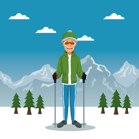 Winter mountain landscape poster with scaler guy with equipment vector illustration