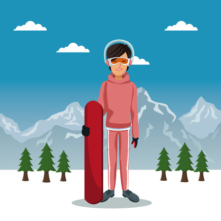 Winter mountain landscape poster with skier woman with equipment and sky table vector illustration