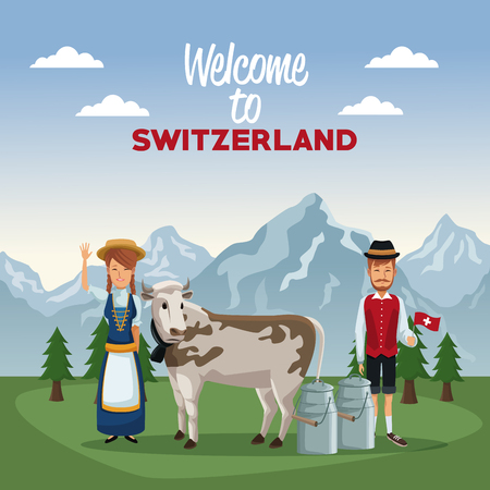 Mountain landscape valley poster of welcome of switzerland with people of traditional costume and cow with metal jars vector illustration