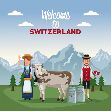 De affiche van het berglandschap van welkom van Zwitserland met mensen van traditioneel kostuum en koe met metaalkruiken vectorillustratie