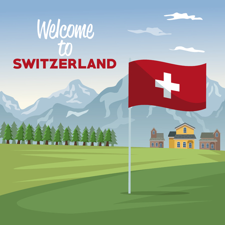 Mountain landscape valley poster of welcome of switzerland with forest and facades houses with closeup flag vector illustration Illustration
