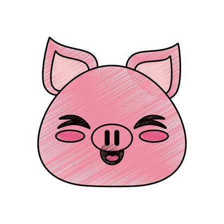 カラフルな豚は、白い背景のベクトル図に落書き