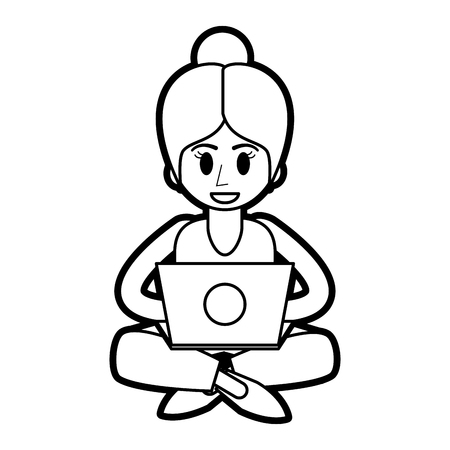 Flat line uncolored woman with laptop over white background vector illustration
