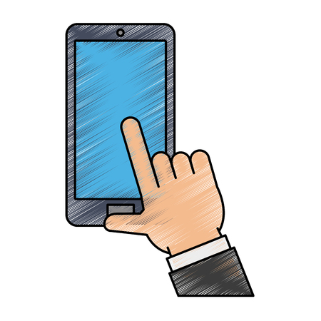 Colorful hand with smartphone doodle over white background vector illustration