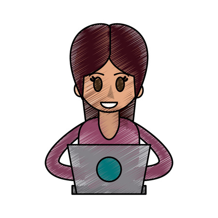 Colorful woman with laptop doodle over white background vector illustration Illustration