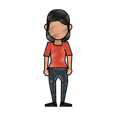 Colorful standing woman doodle over white background vector illustration