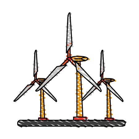 Colorful doodle wind turbine over white background vector illustration