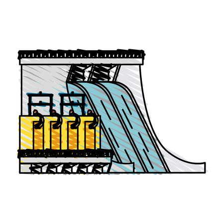Colorful hydroelectric doodle over white background vector illustration Illustration