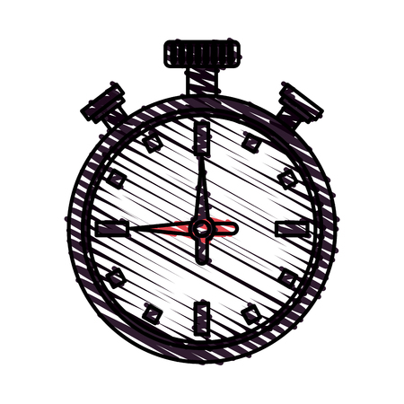Colorful doodle stopwatch over white background vector illustration Illustration