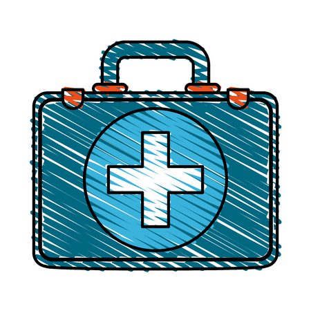 Colorful doodle medical briefcase over white background vector illustration Illustration