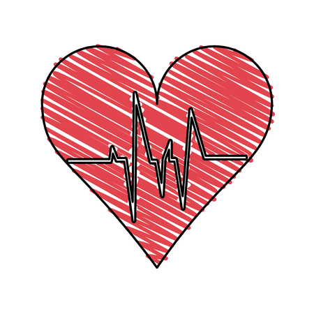 systole: Colorful doodle heart and ecg over white background vector illustration Illustration