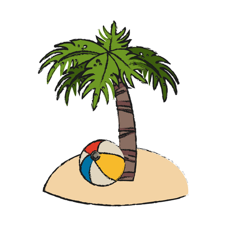 Colorful beach with palm and ball doodle over white background vector illustration Illustration