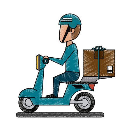 Colorful doodle delivery man in motorbike over white background vector illustration