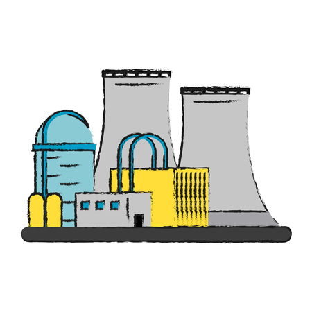 Colorful nuclear plant doodle over white background vector illustration
