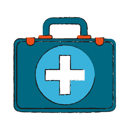 colorful medical briefcase doodle over white background vector illustration