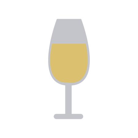 champagne celebration: glass of champagne or sparkling wine wedding drink vector illustration