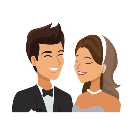portrait wedding couple happy bride and groom together vector illustration Illustration