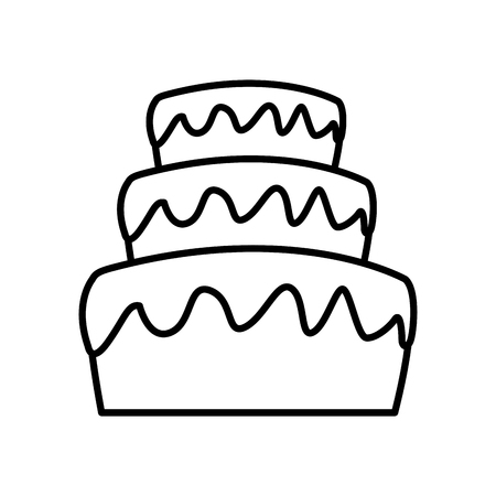 Stacked Wedding Cake Dessert With Frosting Food Vector Illustration