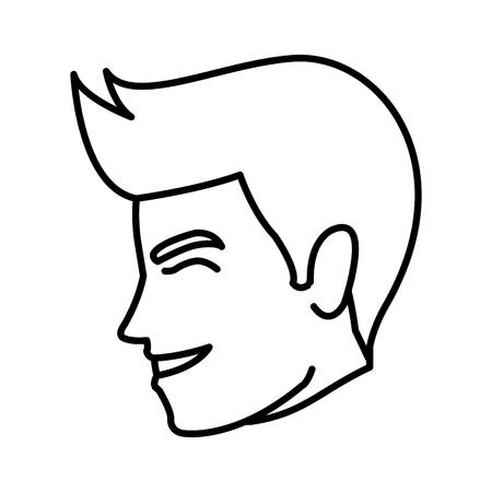 happy man wedding groom face profile vector illustration